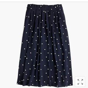 J. Crew retail polka dot pleated midi skirt